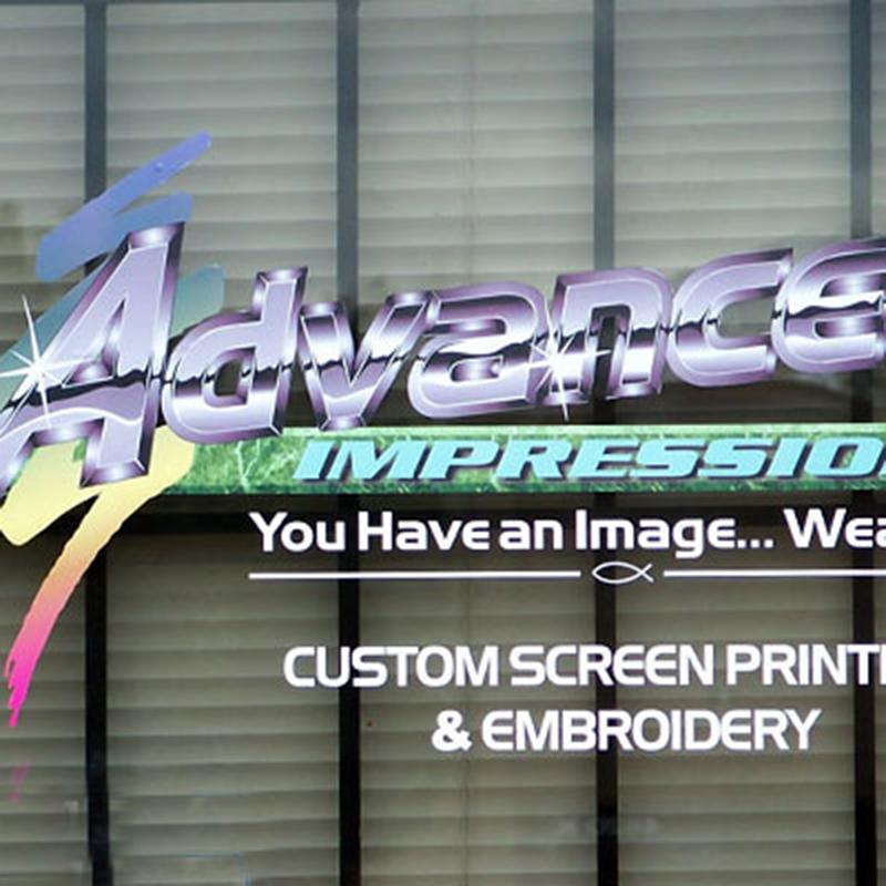 Advanced Impressions vinyl on window
