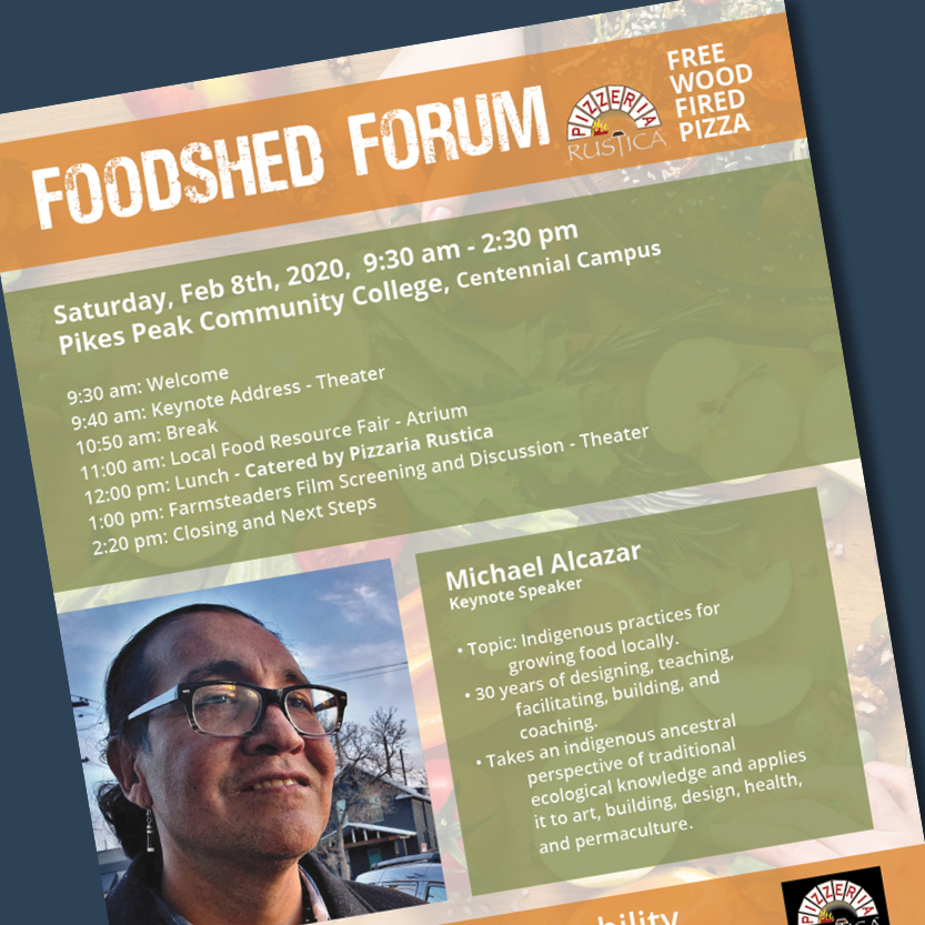 PPCC Sustainability Flyer and Posters for Foodshed Forum