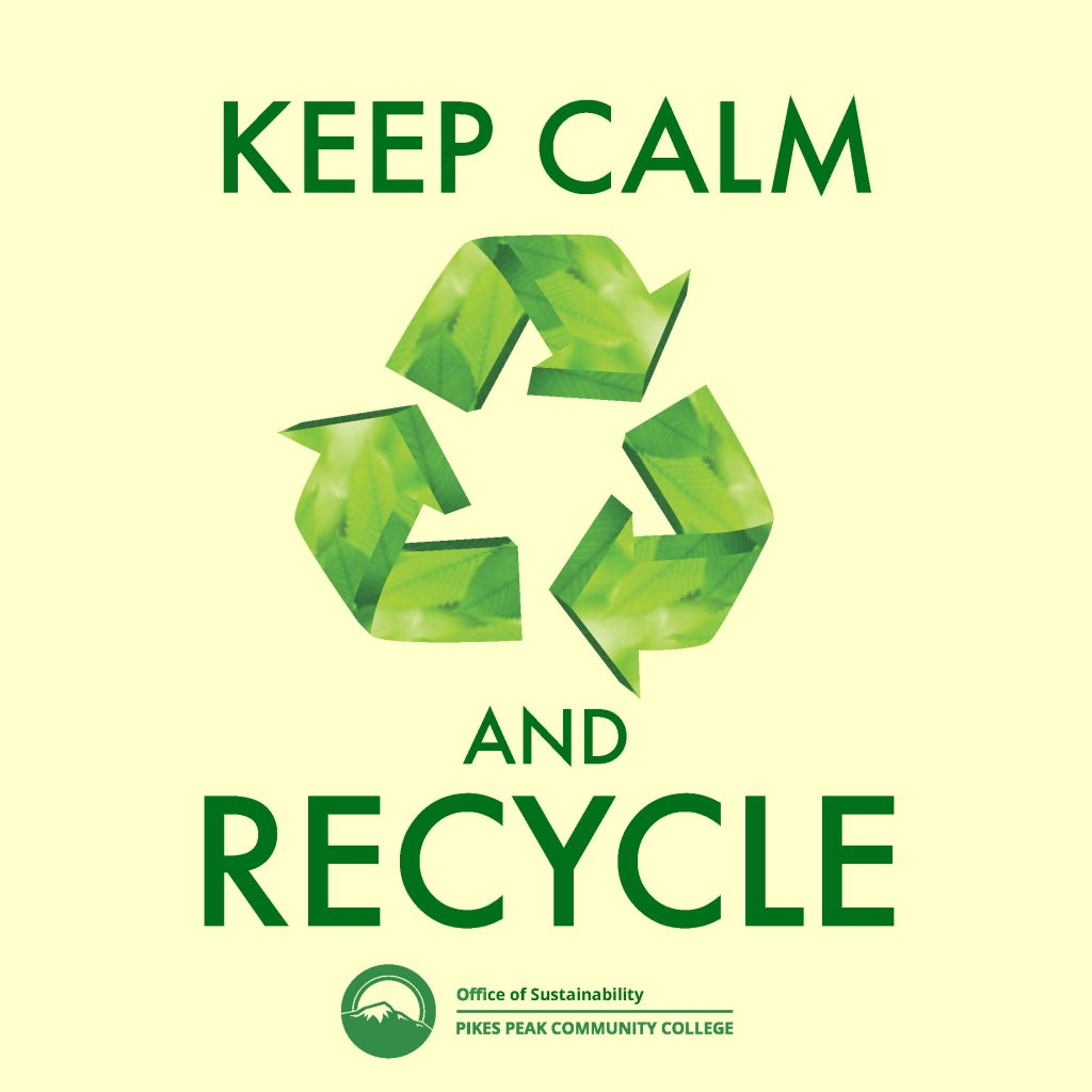 Keep Calm and Recycle with chasing arrows