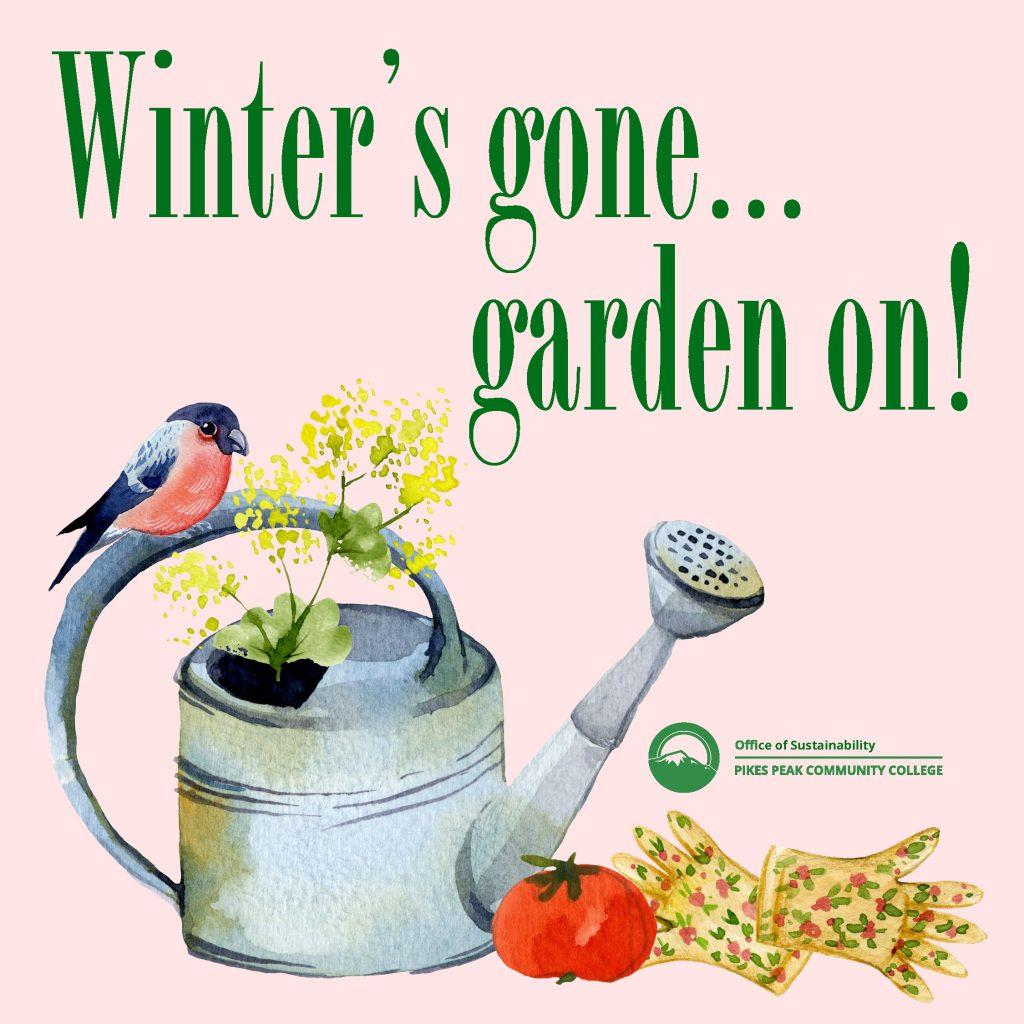 Winters Gone Garden On Watercolor Garden Tools