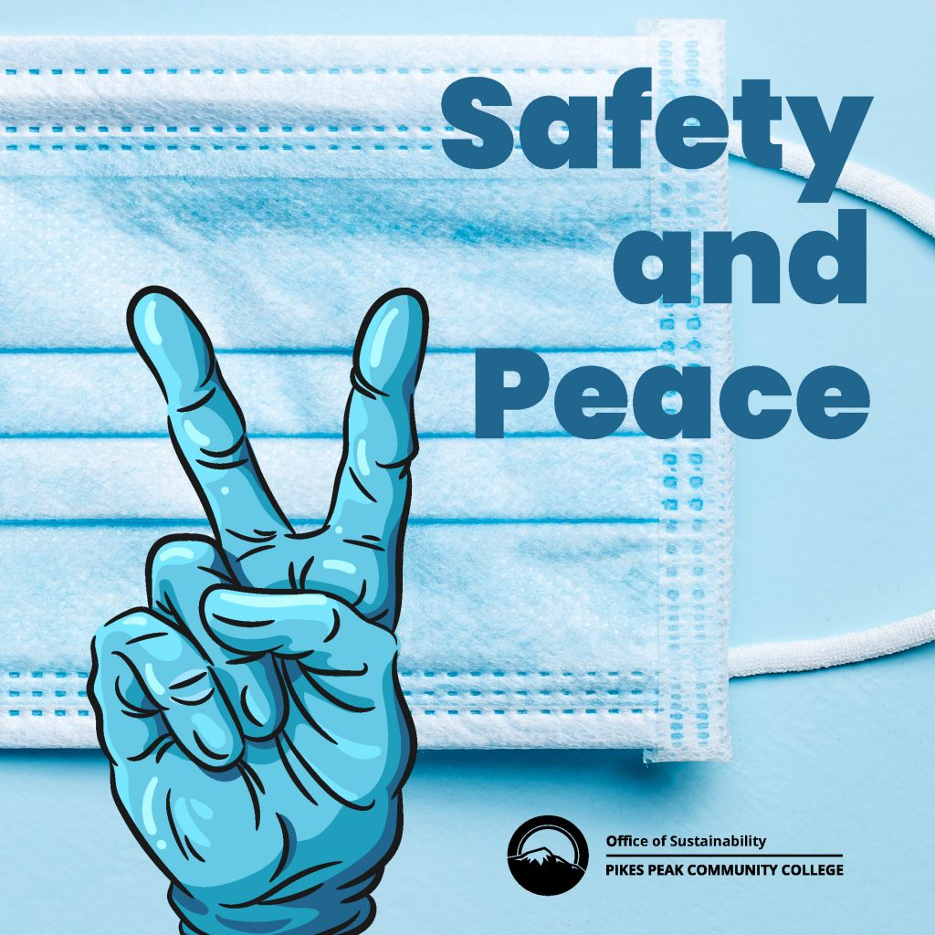 Gloved Peace sign and mask